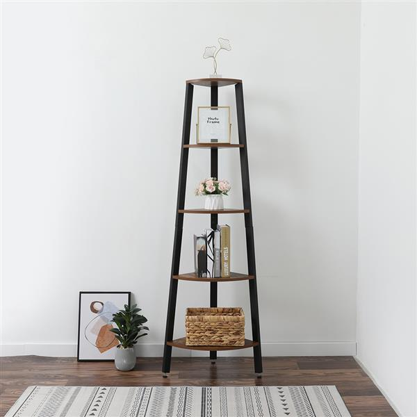 Corner Shelf, 5-Tier Bookshelf, Plant Stand, Wood Look Accent Bookcase Furniture with Metal Frame, for Home and Office, Rustic Brown
