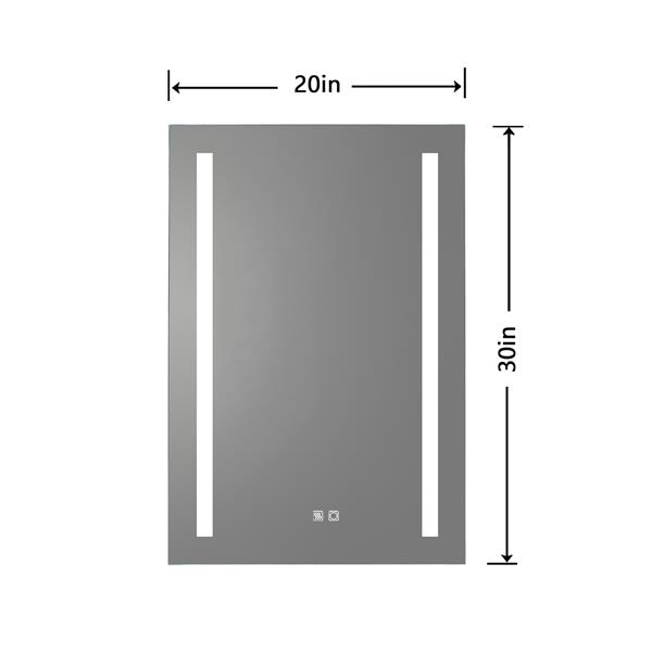 LED Bathroom Mirror, 20 x 30 inch, Anti Fog, Dimmable, Touch Button, Slim,90  CRI, Waterproof IP44,Both Vertical and Horizontal Wall Mounted Way