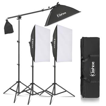 Kshioe 135W Photo Studio Photography 3 SoftBox LED Light Stand Continuous Lighting Kit Diffuser(The product has a risk of infringement on the Amazon platform)