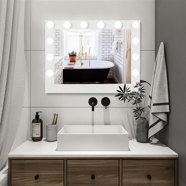 FCH Hollywood Desktop Mirror, Makeup Mirror with Frame, 14 Bulbs-White Square Base