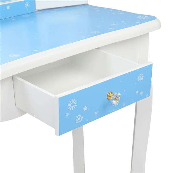Wooden Toy Children's Dressing Table Three Foldable Mirror/Chair/Single Drawer Blue Snow Style