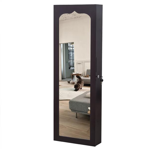 Non Full Mirror Wooden Wall Mounted 4-Layer Shelf 6 Drawers 8 Blue LED Light Jewelry Storage Mirror Cabinet - Dark Brown