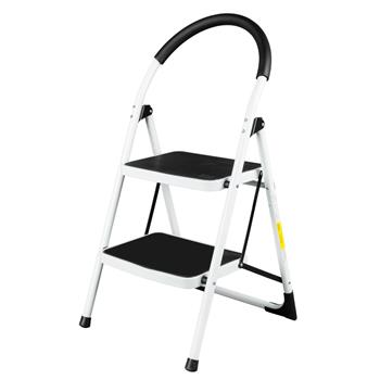 Folding Stool Heavy Duty Industrial Lightweight 2-Step Ladder White