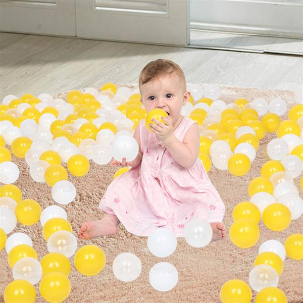 100pcs 7cm Fun Soft Plastic Ocean Ball Swim Pit Toys Baby Kids Toys (Yellow white Transparent)