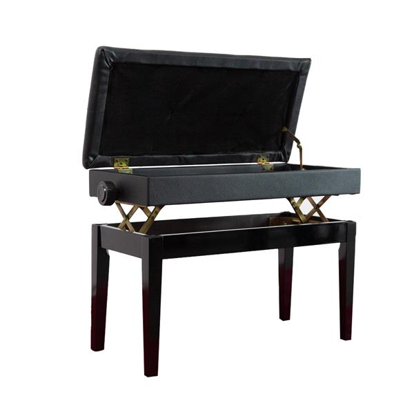 Straight leg lifting piano stool with bookcase 73 * 35 * 49-59