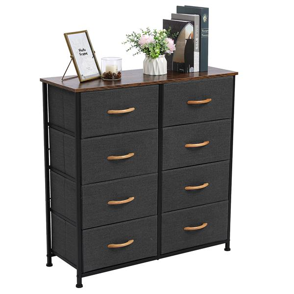 4-Tier Wide Drawer Dresser, Storage Unit with 8 Easy Pull Fabric Drawers and Metal Frame, Wooden Tabletop for Closets, Nursery, Dorm Room, Hallway,Gray