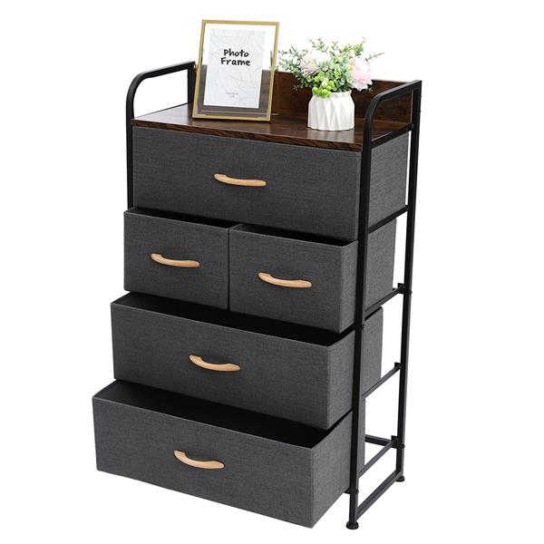 5-Drawer Dresser, 4-Tier Storage Organizer, Tower Unit for Bedroom, Hallway, Entryway, Closets - Sturdy Steel Frame, Wooden Top, Removable Fabric Bins