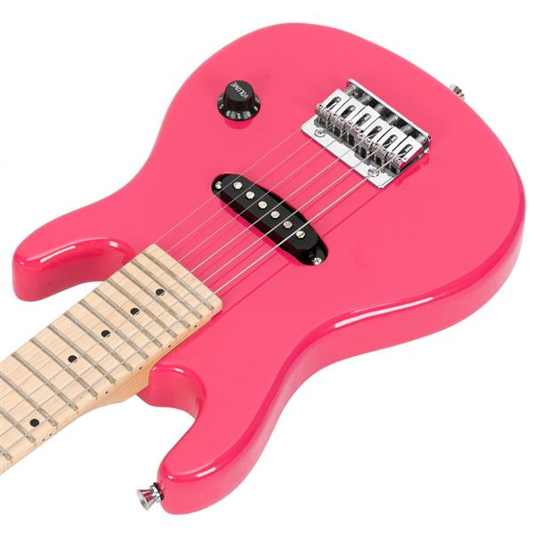 "Glarry 30"" Maple Fingerboard Electric Guitar Amplifier Bag String Shoulder Strap Plectrum Cord Wrench Tool Pink"