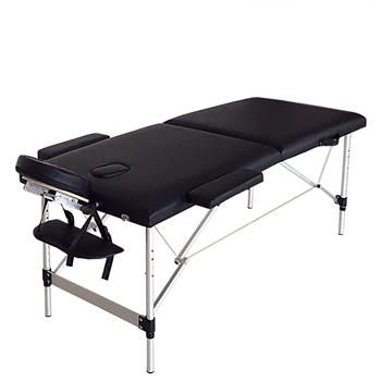 2 Sections Folding Portable SPA Bodybuilding Massage Table Black