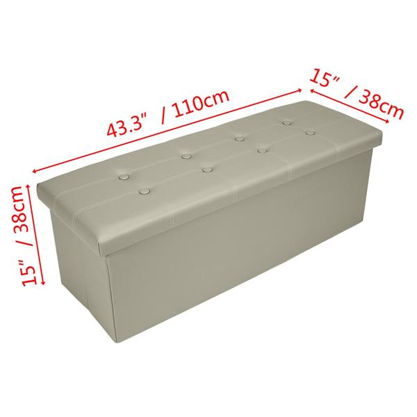 Practical PVC Leather Rectangle Shape with Leather Button Footstool Large Size