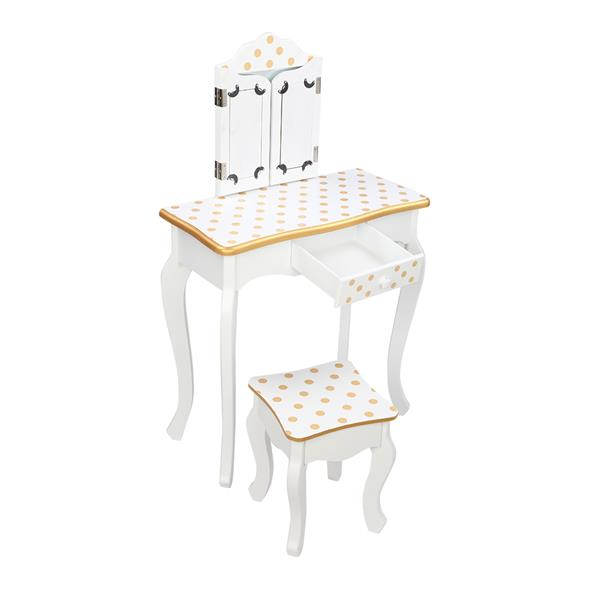 Children's Dressing Table Three Foldable Mirror/Chair/Single Drawer White