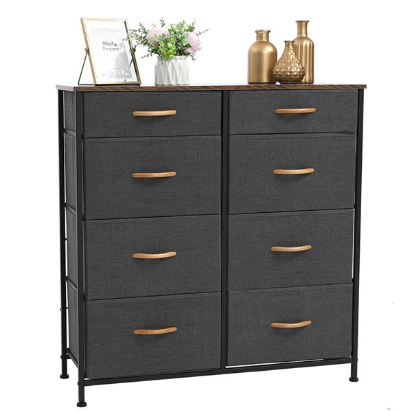 Vertical Furniture Storage Tower - Sturdy Steel Frame, Easy Pull Fabric Bins - Organizer Unit for Bedroom, Hallway, Entryway, Closets - 8 Drawers