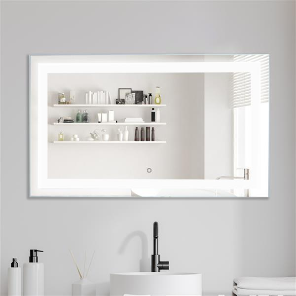LED Bathroom Vanity Mirror with Light, 40 x 24 Inches Dimmable Anti-Fog Backlit Wall Mounted Defogger Makeup Mirror, CRI 90 , Color Temperature 5000K