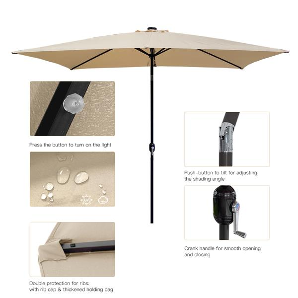 Outdoor Patio Umbrella 10 Ft x 6.5 Ft Rectangular with Crank Weather Resistant UV Protection Water Repellent Durable 8 Sturdy Aluminuim Ribs with  Push Button Tilt&Crank, Market Outdoor Table Umbrella