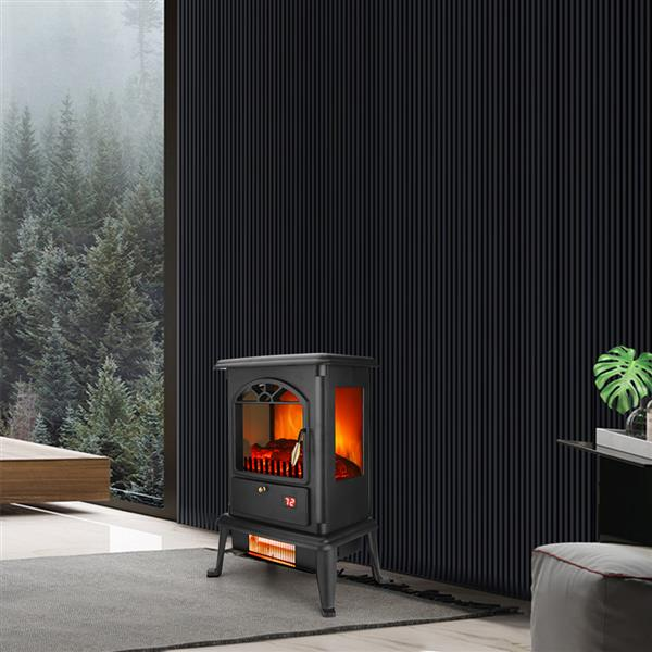 ZOKOP American Standard HT1217 1500W Freestanding Three-door Glass 3D Flame Fireplace with Remote Control/Fake Firewood/Single Color/3 Quartz Tubes/Black
