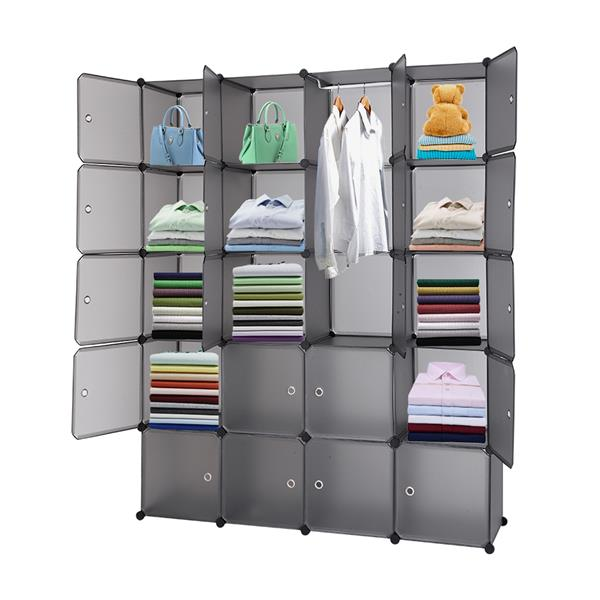 20 Cube Organizer Stackable Plastic Cube Storage Shelves Design Multifunctional Modular Closet Cabinet with Hanging Rod Gray