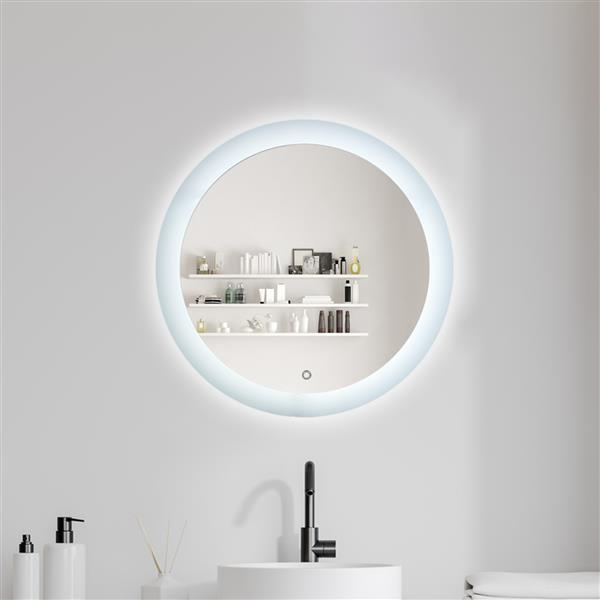 LED Bathroom Vanity Mirror with Light, 24 Inches Round Shape, Dimmable Anti-Fog Backlit Wall Mounted Defogger Circle Makeup Mirror, CRI 90 , Color Temperature 5000K