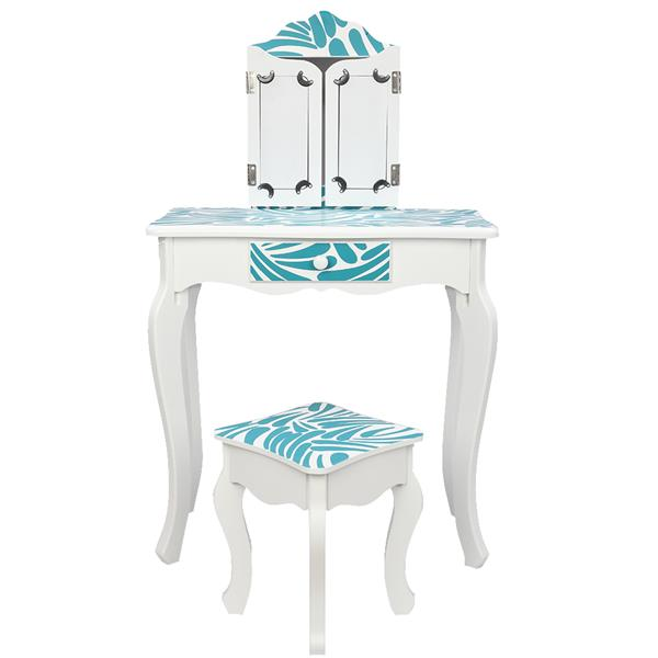 FCH Three-Fold Mirror Single-Drawing Curved Foot Children Dressing Table Blue Zebra