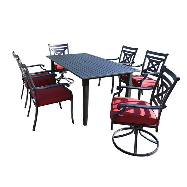 7 PiecesPatio Metal Dining Set with cushions , 4 pcs Stacking Chairs with 2 pcs Swivel Chair with 1 Rectangle Umbrella Table, Furniture Set With cushion for Outdoor Lawn Garden, Black
