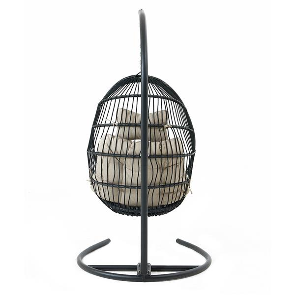 Hanging Chair Wicker Swing Chair Cushion with Steel Support Frame Hanging Egg Basket Seat for Home, Beige