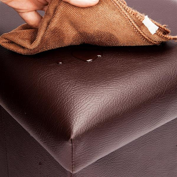 F-03L Practical PVC Leather Rectangle Shape Surface with Line Footstool Brown