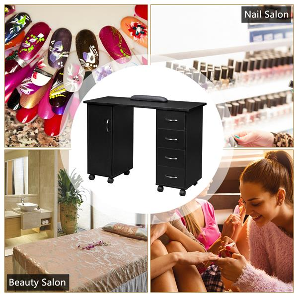 Manicure Table With 1 Door And 4 Drawers/P2 Certification Board/Pu8 Wheels (4 Brakes)/With Hand Pillow Black