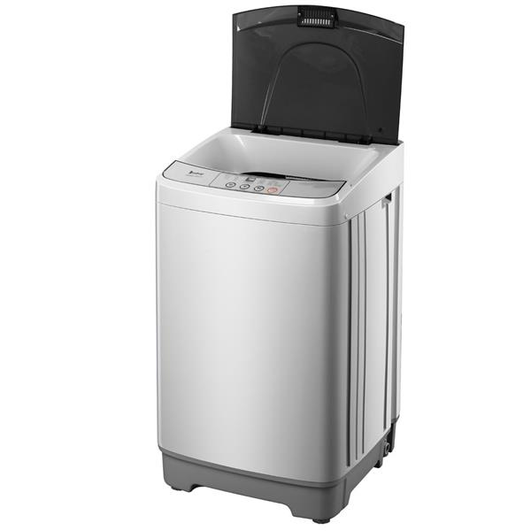 ZOKOP Full-Automatic Washing Machine Portable Compact Laundry Washer Spin with Drain Pump,10 programs 8 Water Level Selections with LED Display 13.3 Lbs Capacity, Gray