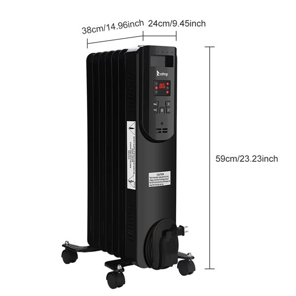 ZOKOP SH-36-7 1500W Oil Heater with Display / with Temperature Adjustment / with Remote Control / Black