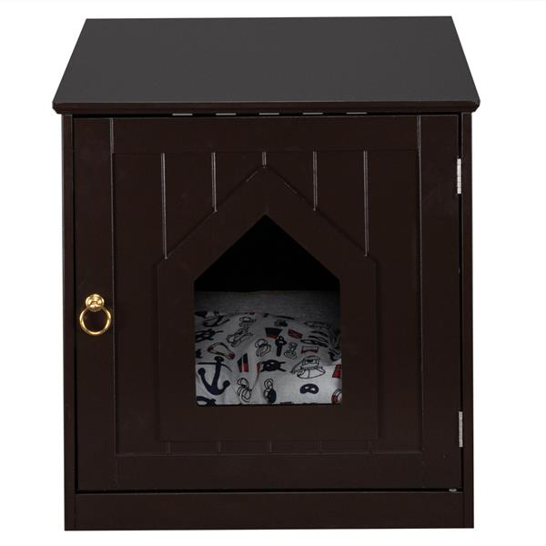 FCH Litter Box Enclosure, Nightstand Pet House, Cat Home Nightstand, Indoor Pet Crate, Cat Washroom, Litter Box Cover with Sturdy Wooden Structure