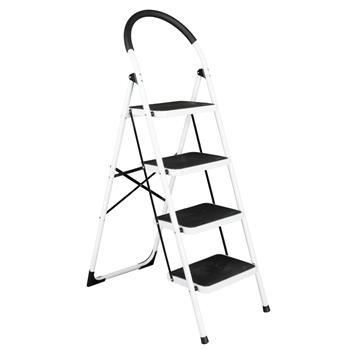 Folding Stool Heavy Duty Industrial Lightweight 4-Step Iron Ladder Black