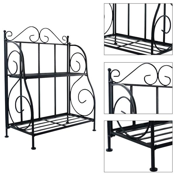 2-Tier Black Foldable Shelf Rack Kitchen Bathroom Countertop