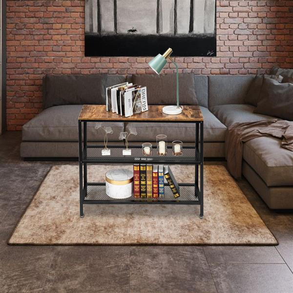 HODELY Modern Industrial Wood Grain 3 Floors 40-Inch Rectangle Wrought Iron Sofa Table