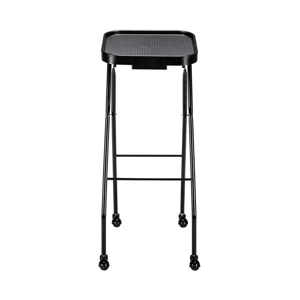 [DTY] Hairdressing Folding Trolley Cart ABS Tray Iron Frame With Wheels (Iron Frame Plastic Wheels) Black (No Brand, No Logo)