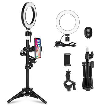 [US Regulations] Kshioe 6 Inch With Button Super Fire Ring Light Plus Bracket Set(The product has a risk of infringement on the Amazon platform)