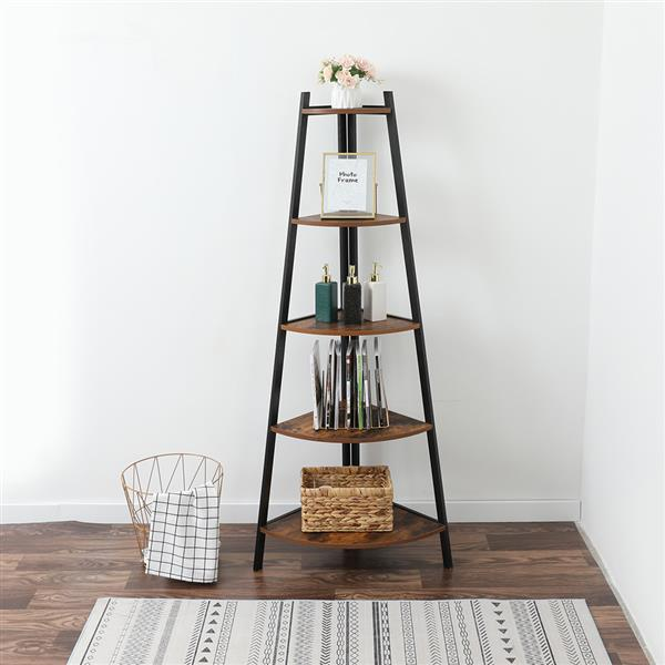 Industrial Corner Ladder Shelf, 5 Tier Bookcase A-Shaped Utility Display Organizer Plant Flower Stand Storage Rack, Wood Look Accent Metal Frame Furniture Home Office