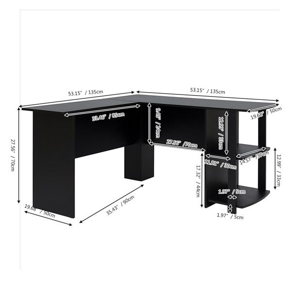 FCH L-Shaped Wood Right-angle Computer Desk with Two-layer Shelves Black