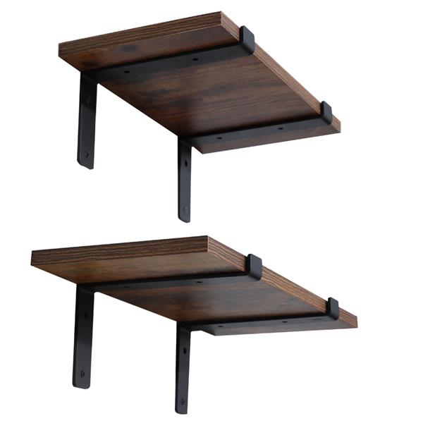 """4-Pack-7.25"""" Heavy Duty Rustic Industrial Farmhouse Iron Metal Wall Floating Brace Support with Lip for DIY Open Shelving"""