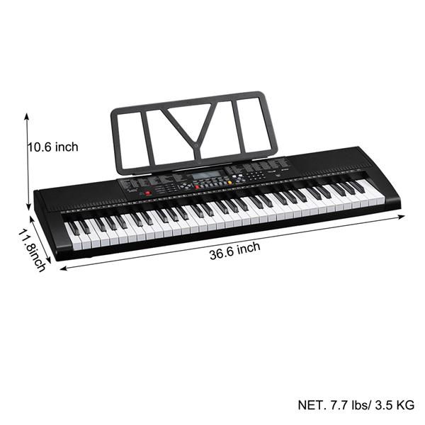 Glarry GEP-106 61 Key Portable Keyboard with  Built In Speakers, Headphone, Microphone, Music Rest, LCD Screen, USB Port & 3 Teaching Modes for Beginners
