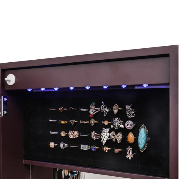 Full Mirror Wooden Wall Mounted 4-Layer Shelf 2 Drawers With Inner Mirror 8 Blue Led Light Jewelry Storage Mirror Cabinet - Dark Brown