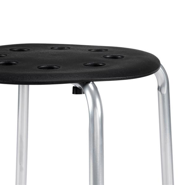 5-Piece Stackable Round Stool Black Silver