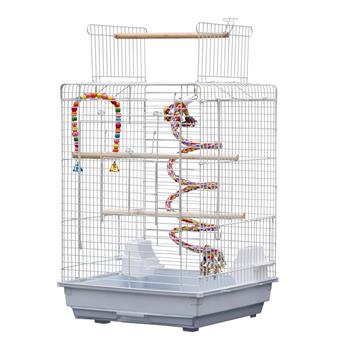 "23"" Bird Cage Pet Supplies Metal Cage with Open Play Top with tow Additional Toys White"