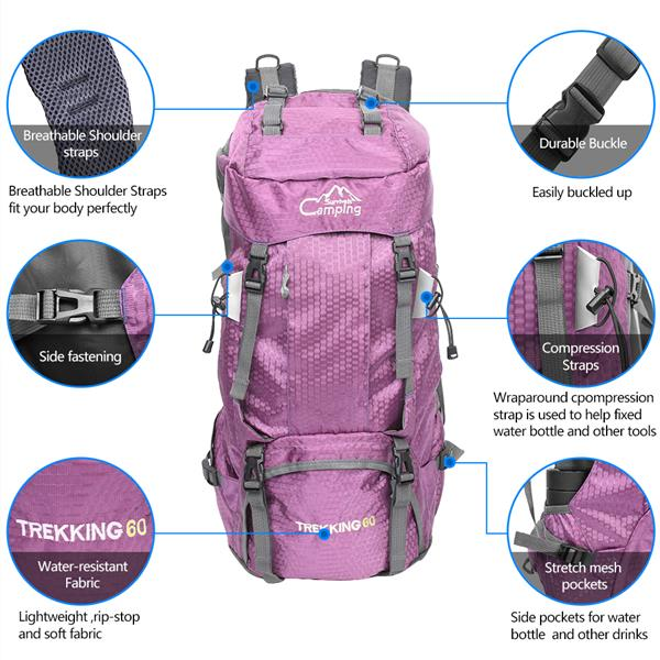 FK0395 60L Waterproof Foldable Backpack Camping Bag with Rain Cover Pink