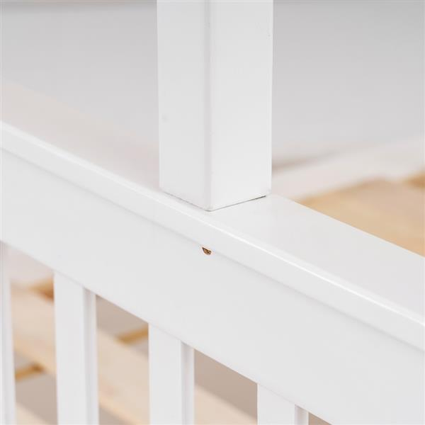 """Pine High Tall Mother and Child Bed Vertical Straight Headboard 65 """"H Twin over Full White"""