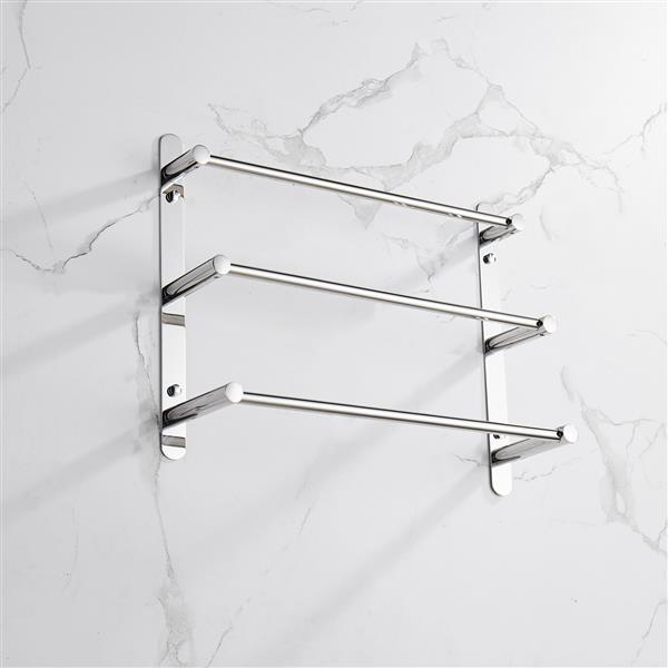 THREE Stagger Layers Towel Rack SUS304 Stainless Steel Hand Polishing Mirror Polished Finished Bathroom Accessories Set Three Towel Bars 15.7 inch bars KJWY004-40CM