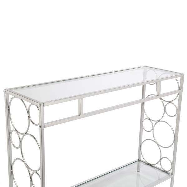 FCH Toughened Glass Panel Console Table---Circle Shape