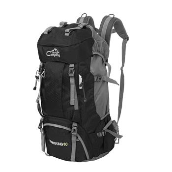 FK0395 60L Waterproof Foldable Backpack Camping Bag with Rain Cover Black