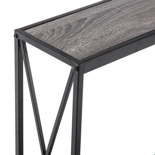 Triamine Board Cross Iron Frame Porch Table Sofa Side Table Gray Wood Grain