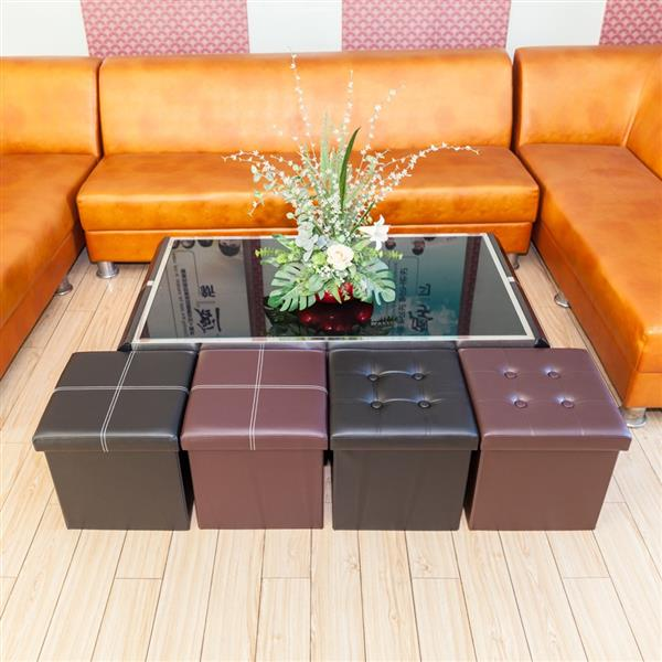 [FCH] PU Leather Belt Line Footstool Brown 38*38*38cm