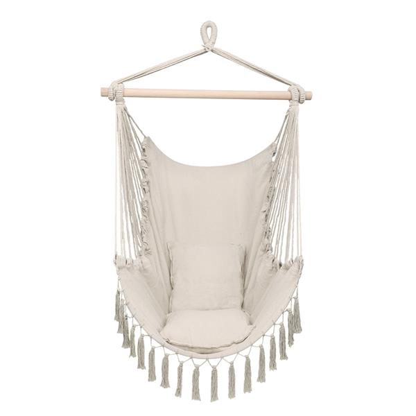 1.5*1.2m Tassel Plus Pillow Hanging Chair Beige