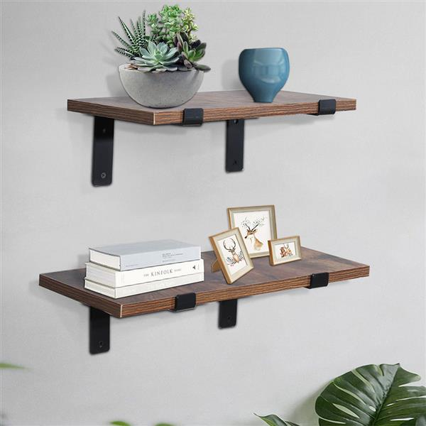 """4-Pack-9.25"""" Heavy Duty Rustic Industrial Farmhouse Iron Metal Wall Floating Brace Support with Lip for DIY Open Shelving"""